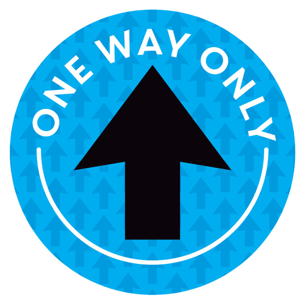 Blue One Way Only Arrow Floor Decal