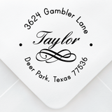 Flourish Name Address Stamp