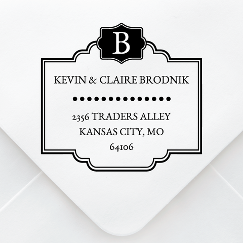 Plaque Monogram Address Stamp