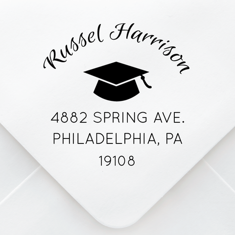 Graduation Cap Address Stamp