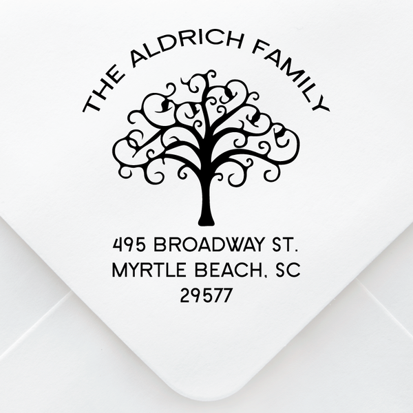 Curly Tree Address Stamp