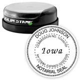 Round Slim Iowa Notary Stamp