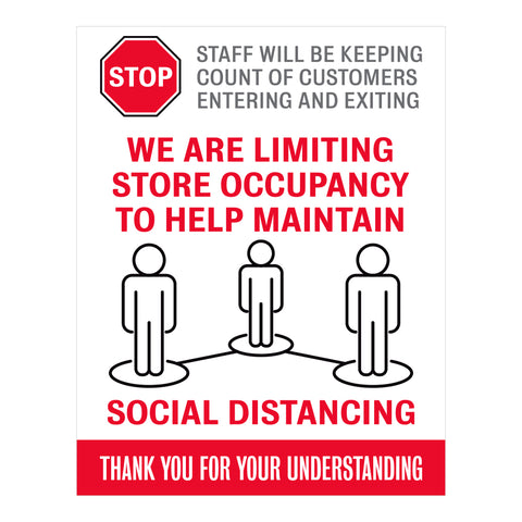 Limiting Store Occupancy Sign