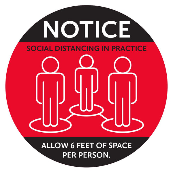 Notice Allow Six Feet Of Space Floor Decal