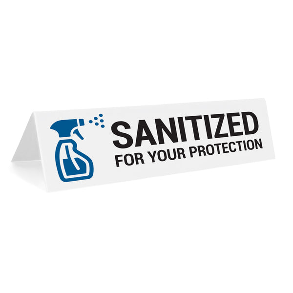Sanitized For Your Protection Tabletop Sign