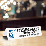 Disinfect Surface Before And After Use Tabletop Sign