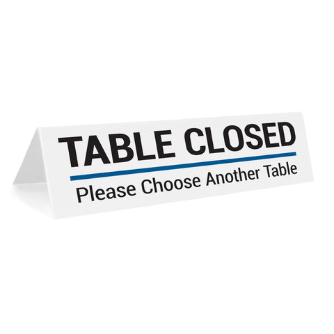 Table Closed Please Choose Another Tabletop Sign