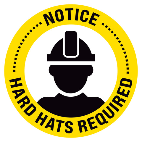 Notice Hard Hats Required Floor Decal