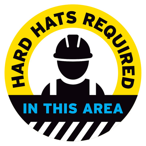 Yellow Hard Hats Required In This Area Floor Decal