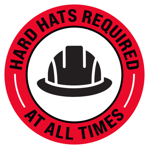 Hard Hats Required At All Times Floor Decal