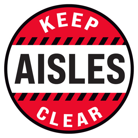 Red Keep Aisles Clear Floor Decal