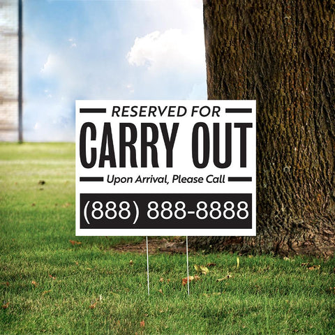 "24"" x 18"" Custom Carry Out Yard Sign"