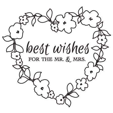 Craft Stamp Best Wishes Floral Heart Stamp