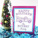 Craft Stamps Custom Happy Holidays Truck Stamp