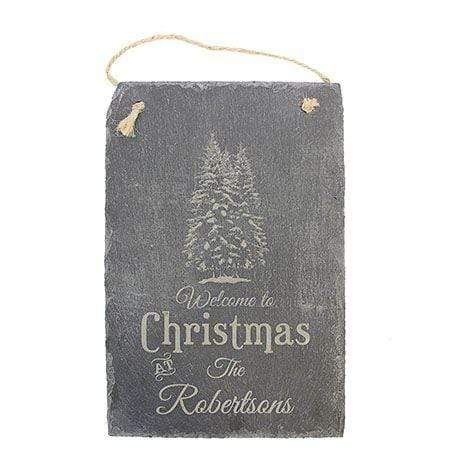 Slate Boards Welcome Christmas Engraved Slate Sign