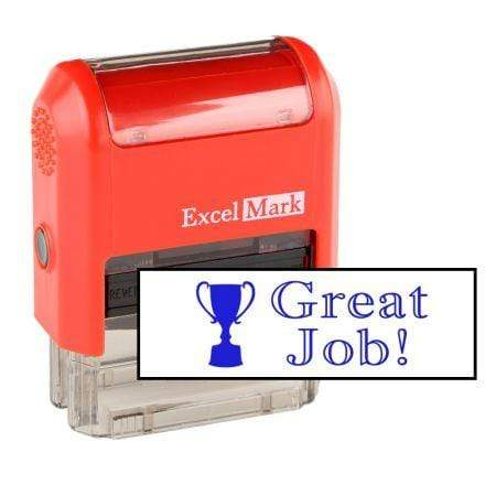 Teacher Stamps Great Job! Trophy Stamp (Two Color)