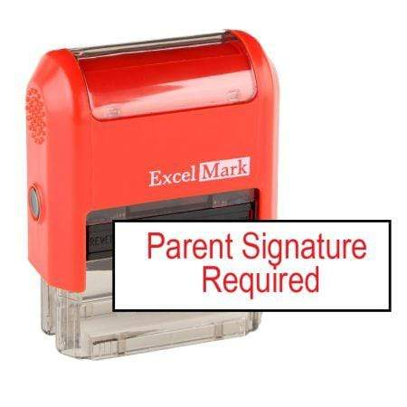 Teacher Stamps Parent Signature Required Stamp (Two Color)