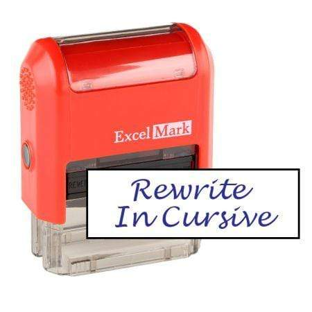 Teacher Stamps Rewrite In Cursive Stamp (Two Color)