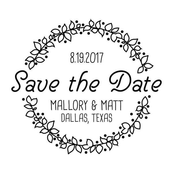 Wedding Stamps Berry Wreath Save The Date Stamp