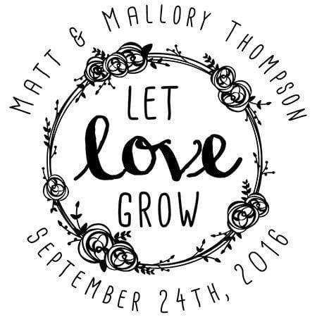 Wedding Stamps Let Love Grow Custom Favor Stamp