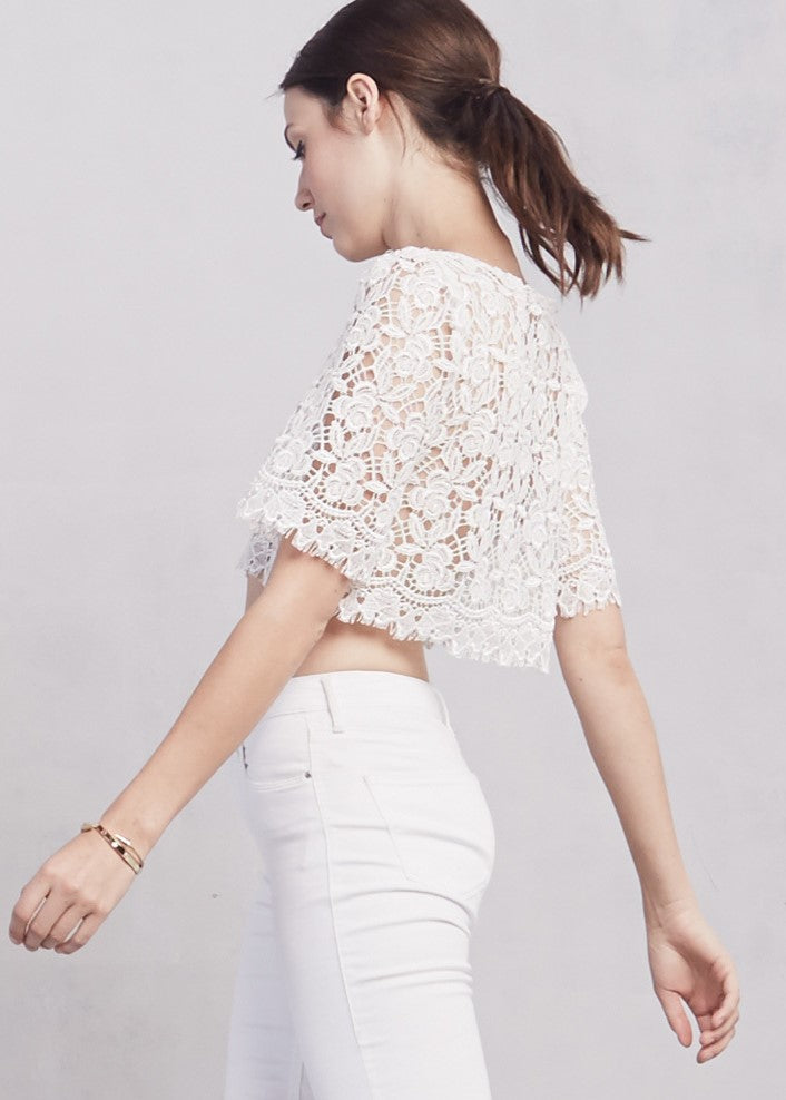 Reformation - Pierrot White Lace Crop Top Size xs