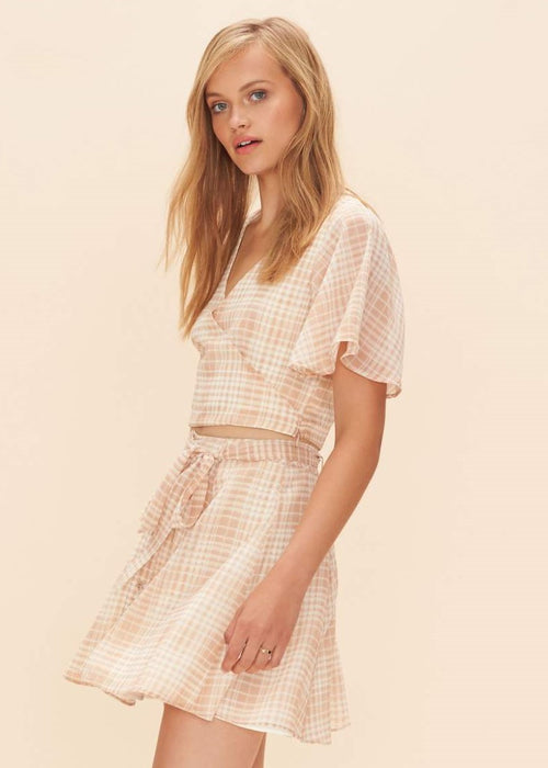 Privacy Please - Plaid 2 Piece Matching Dresden Skirt and Zorn Crop Top Set - Cream