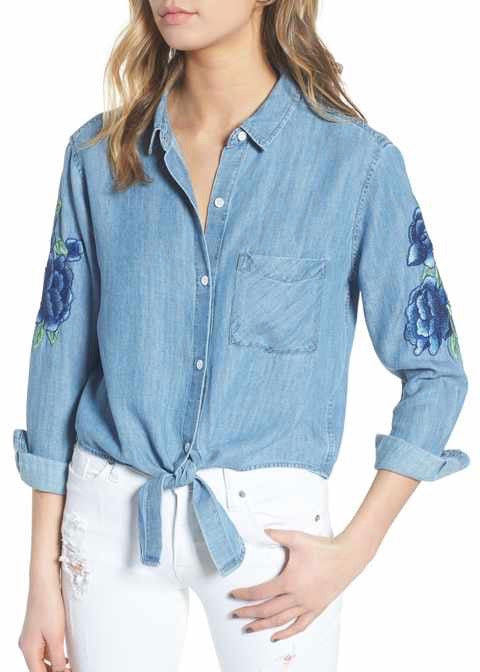 Val Tie Front Denim Shirt