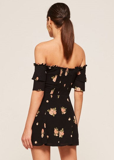 Reformation Diana Mini Dress in Black Floral Aphrodite Print - Off shoulder