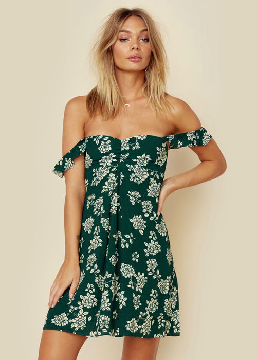 Flynn Skye Carla Mini Dress Emerald Bloom