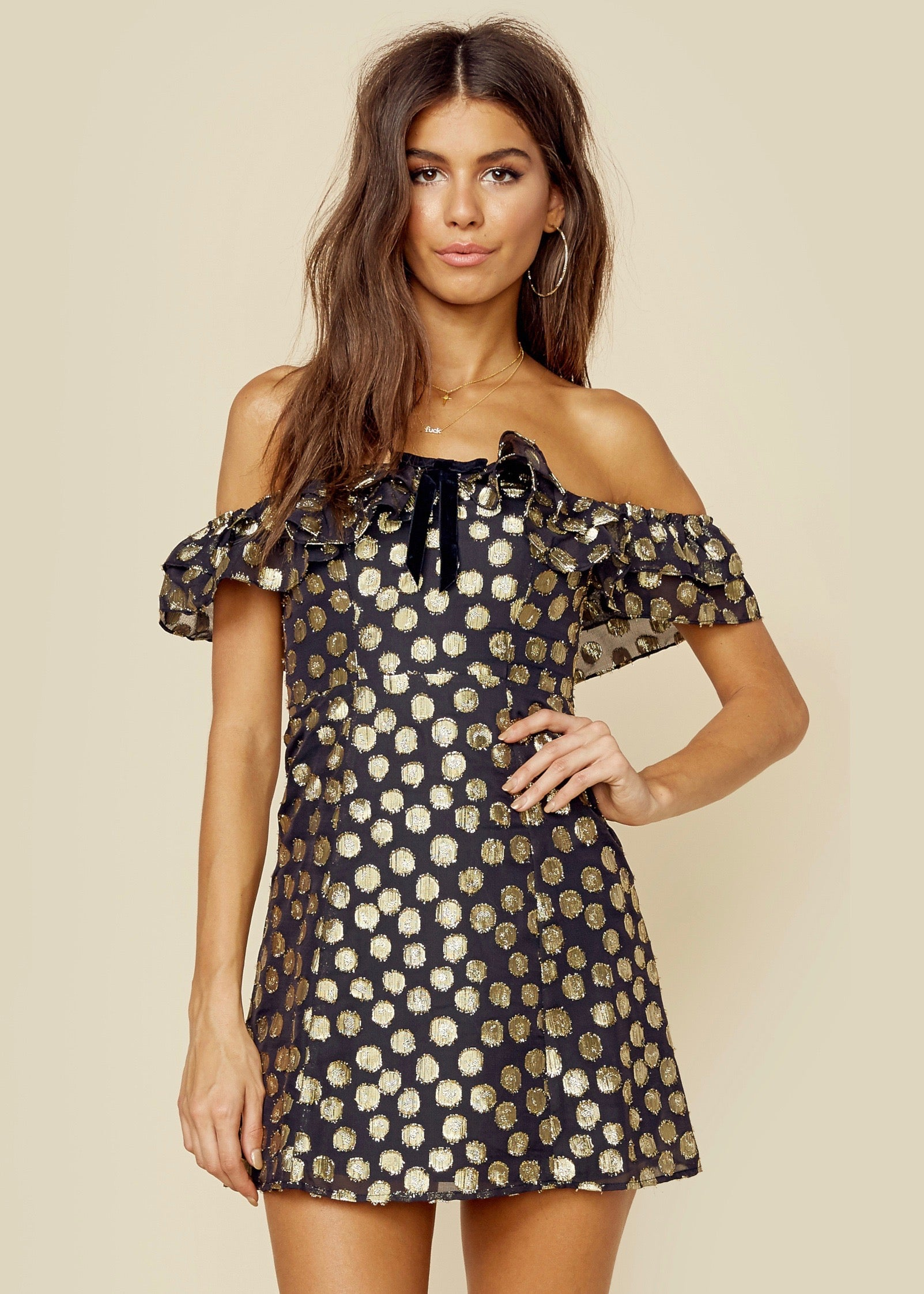 For Love and Lemons Lottie Ruffle Mini Dress - Gold Dot