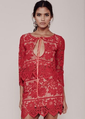 For Love and Lemons Gianna Two Piece Mini Skirt and Crop Top Set - Red/Nude