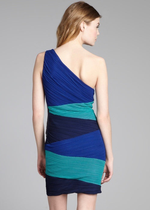 BCBG Maxazria Kira Blue Color Block Mini One Shoulder Dress