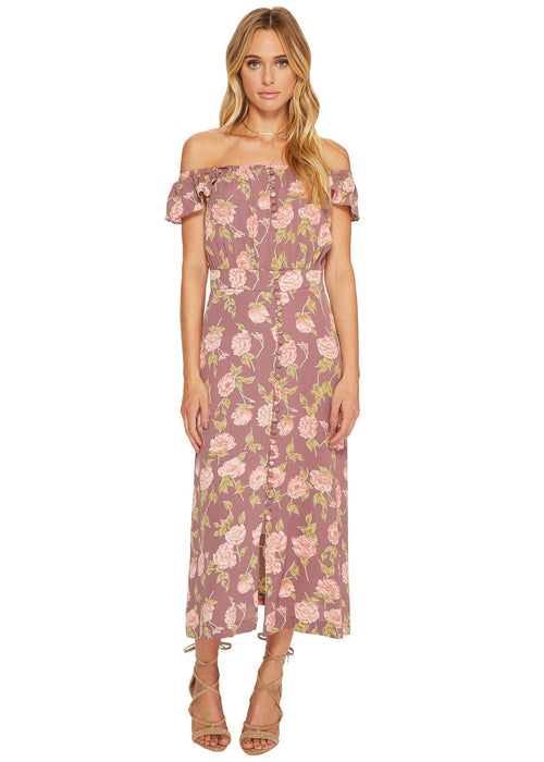 Flynn Skye Tori Midi Dress - Mauve Blossom Off Shoulder Purple Floral