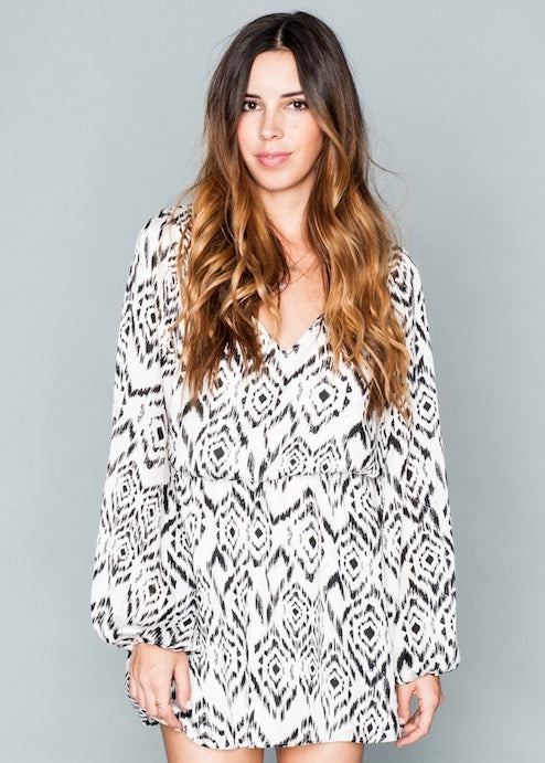 Show Me Your Mumu Rainey Mini Dress - Crow Creek - Black & White Diamond Print Long Sleeve
