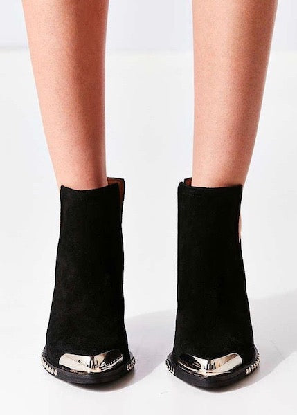 Jeffrey Campbell Optimum Suede Ankle Bootie - Silver Studded and Toe - Black