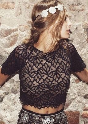 For Love and Lemons Buenas Noches Crop Top - Black Lace
