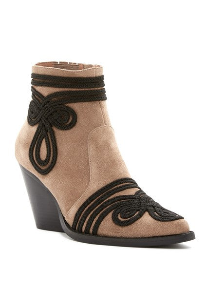 Jeffrey Campbell - Gatlin Corded Pointed Toe Bootie - Taupe Suede
