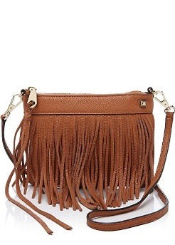 Rebecca Minkcoff Mini Fringe Crossbody Bag in Cognac brown
