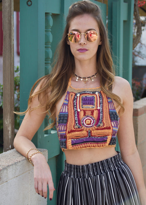 Cleobella Crochet Multi-color Halter Crop Top