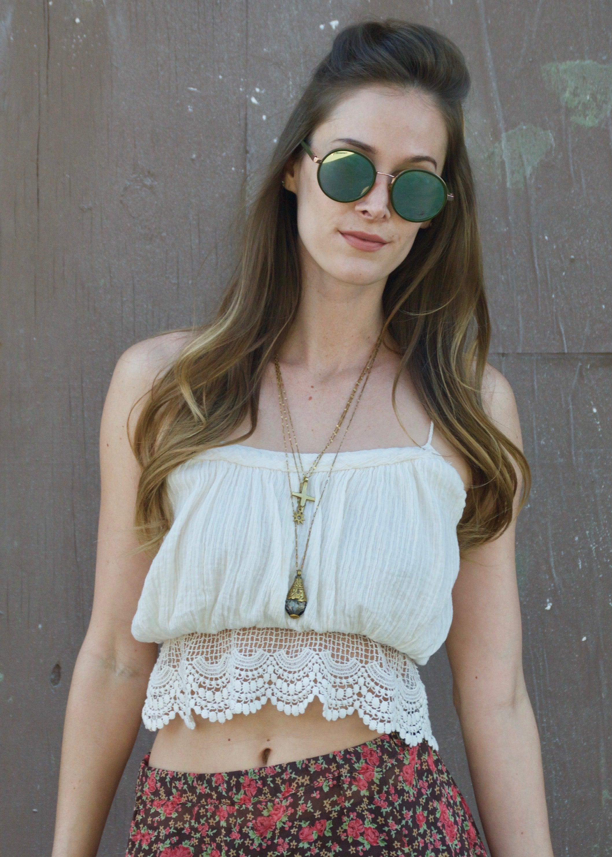 Free People White Lace Crocket Tank  Crop Top
