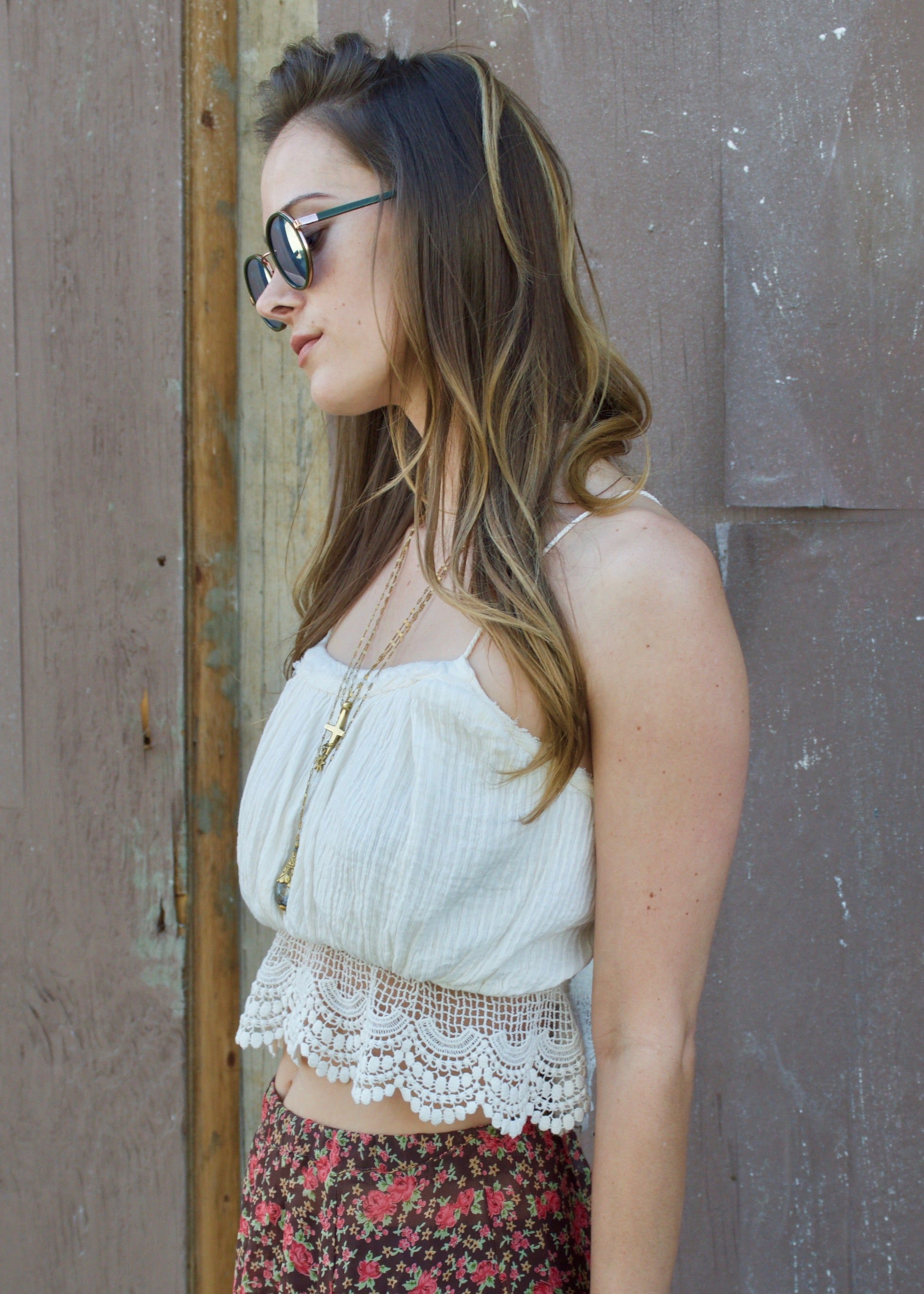 Free People White Lace Crocket Tank  Crop Top - festival