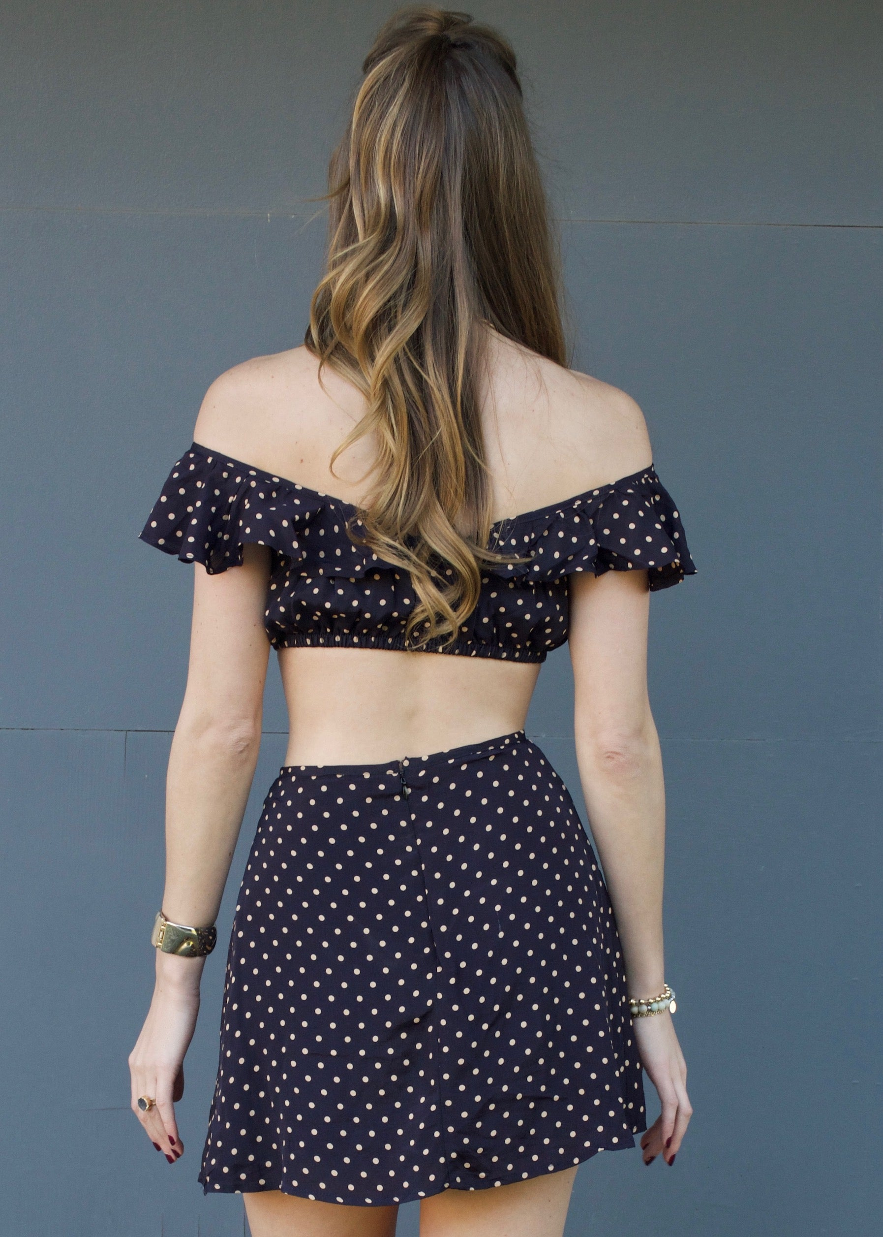 For Love and Lemons Polka Dot Mini Skirt and Crop Top Set - Purple eggplant