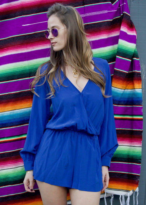 Planet Blue Life Boho Romper in Royal Blue