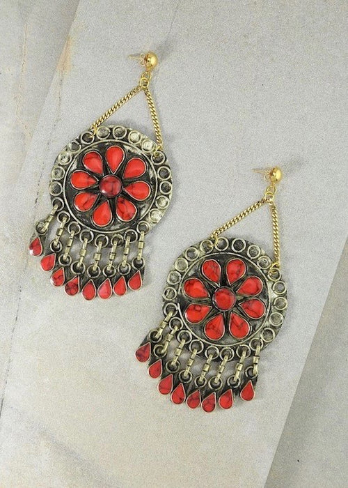 The Marisol Earrings - Coral