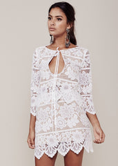 For Love and Lemons Gianna Crop Top - White Lace Size Small