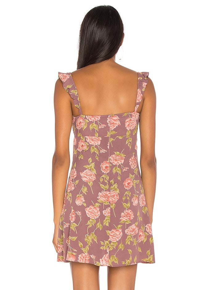 Flynn Skye Carla Mini Dress - Mauve Blossom Print - Purple Pink Floral