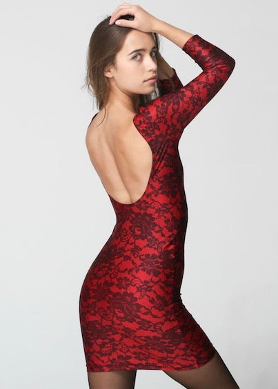 American Apparel Nylon Tricot Floral Bodycon Dress Red