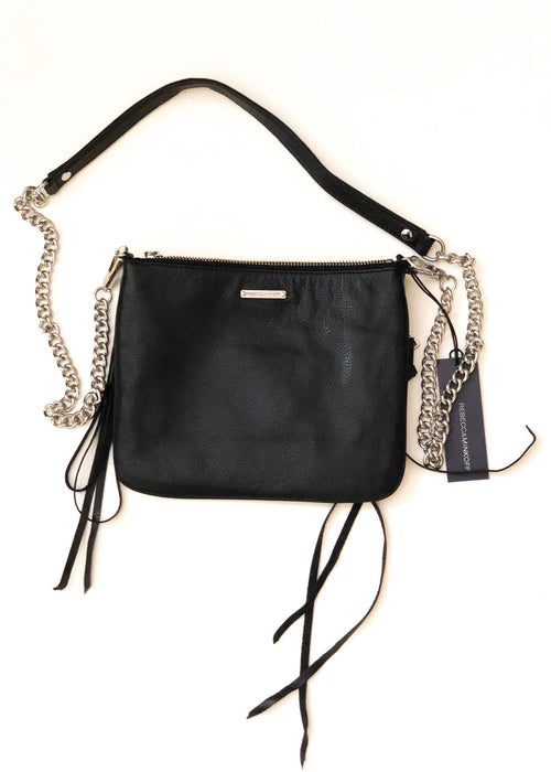 Rebecca Minkoff Rocker 3 Zip Crossbody Bag - Black/Silver Chain Strap