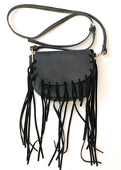 Free People St. Germain Crossbody Bag - Gray with Tassels Festival