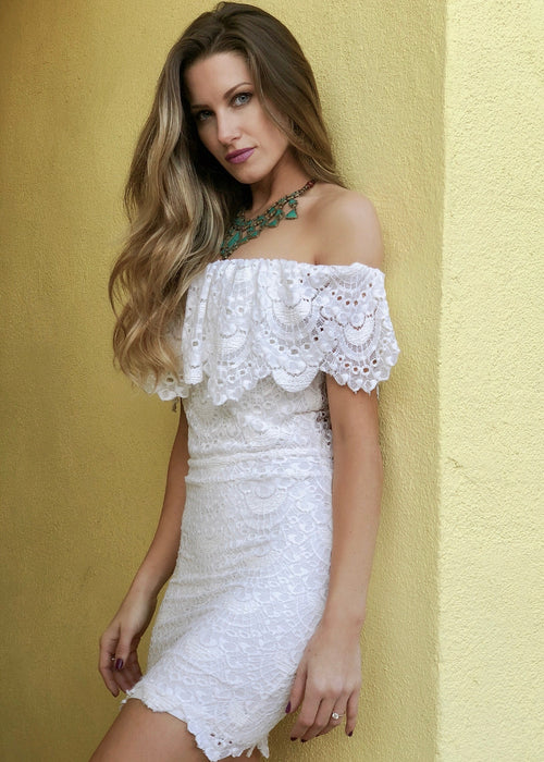 Riviera Spanish Lace Mini Dress
